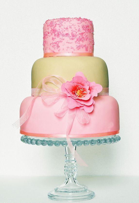 Pretty Pink Sugar Crystals Tiered Cake Wedding Cakes ...