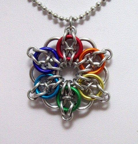 Celtic star necklace, chainmaille pendant, necklace, rainbow, pride ...