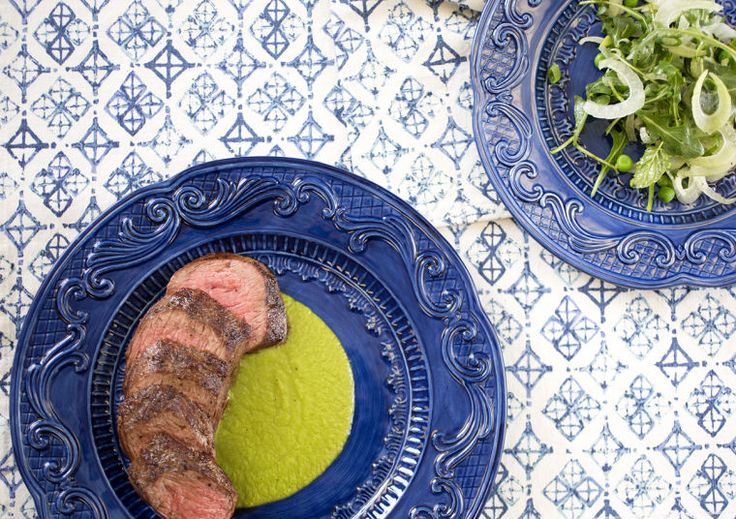 Pan-Seared #Lamb Tenderloin with Fennel #Salad and Pea Purée #recipe