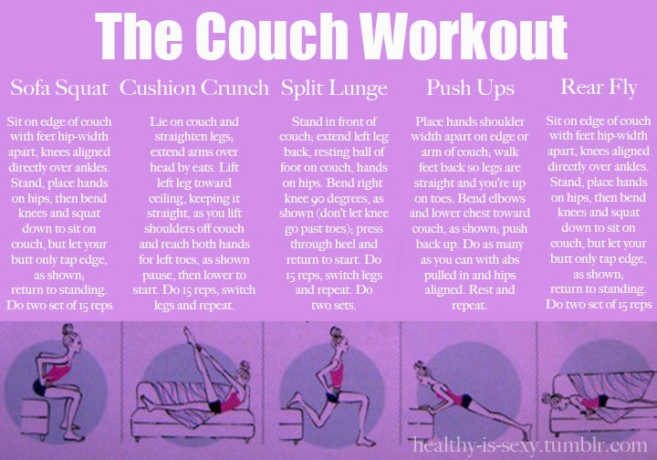 Couch workout health and fitness pinterest for Sofa workout