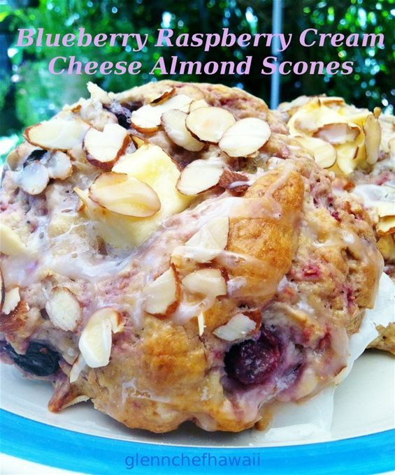 Blueberry Raspberry Cream Cheese Almond Scones Recipe: glennchefhawaii ...