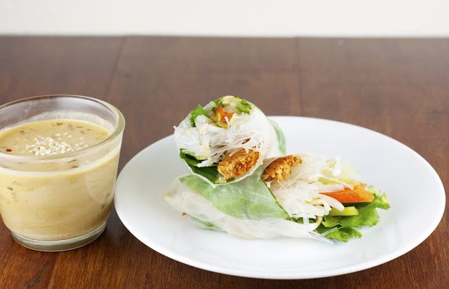 ... : Recipe: Sriracha Tofu Summer Rolls with Spicy Sesame Dipping Sauce