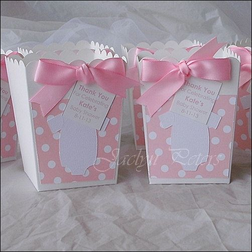 20 personalized pink polka dot baby shower popcorn boxes