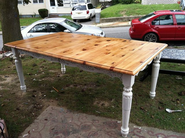 Upcycled refinished dining table diy pinterest for Upcycled dining table