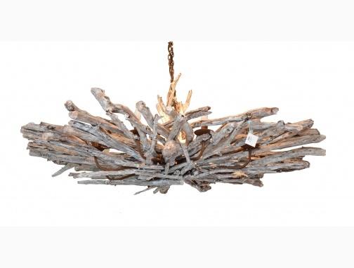 Lustre en bois flott 8 branches eclairages pinterest - Lustre en bois flotte ...