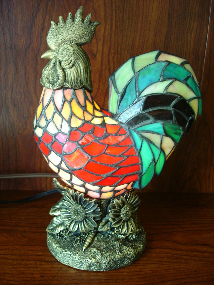stained glass animal rooster lamp new tc9. Black Bedroom Furniture Sets. Home Design Ideas