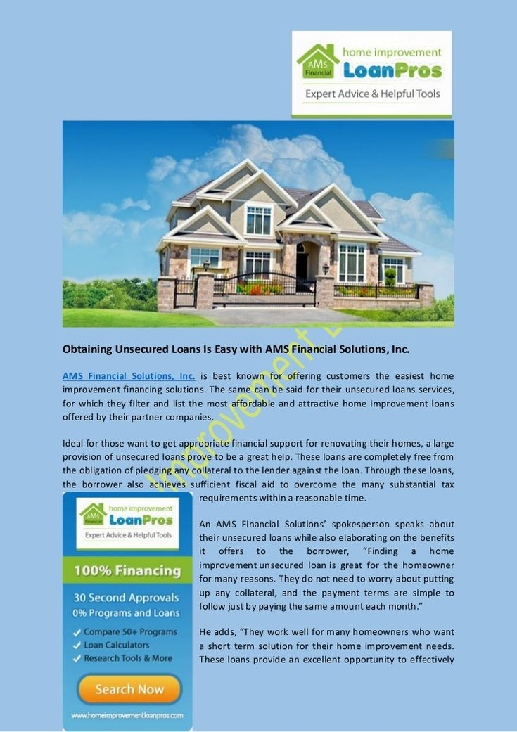 Impressive Obtaining Unsecured Loans Is Easy with AMS Financial Solutions, Inc 736 x 1041 · 114 kB · jpeg