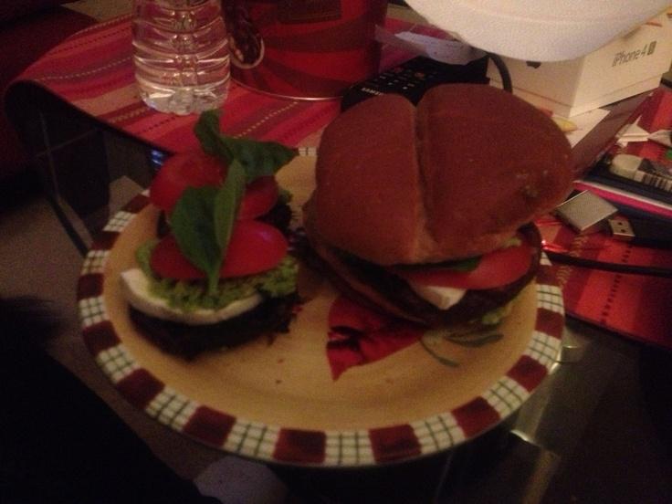 Balsamic marinated portobello mushroom burgers with tomato, fresh ...