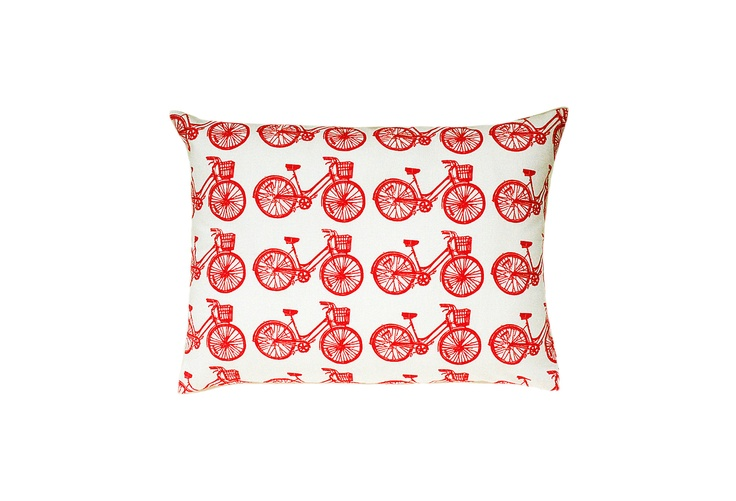 One Kings Lane - Cupcakes and Cashmere Picks - Bicycle Block Print Sham Accent Pillow