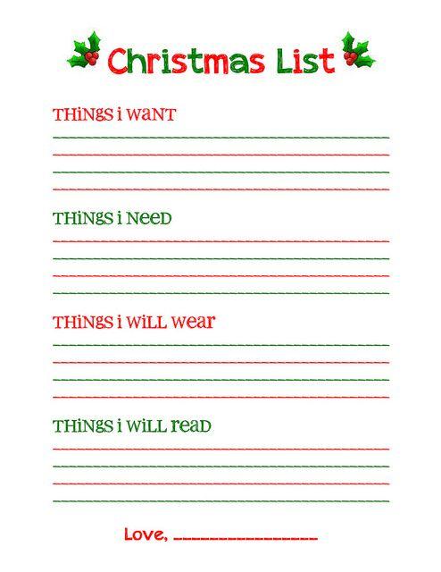 Christmas list printable | Holidays | Pinterest