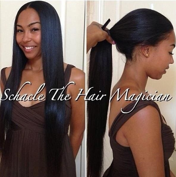 Middle Part Sew In Hairstyles Versatile sew-in part in the