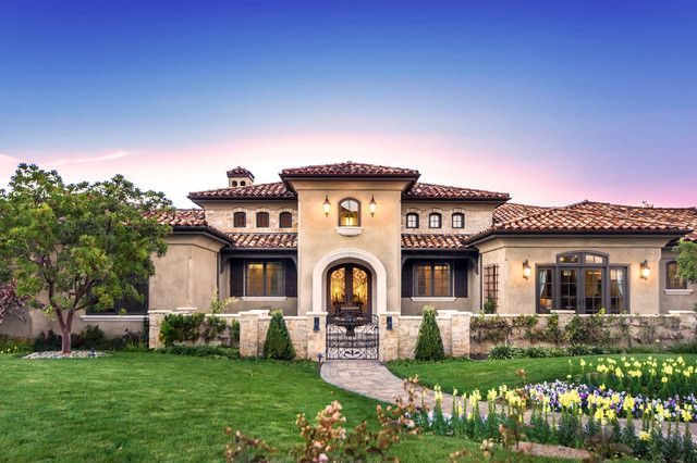 Tuscan style one story home 4pc pinterest - Tuscan home exterior ...