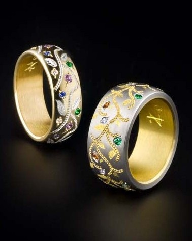 Zoltan David  'Magic Garden' Mother's Ring with 22K Gold Inlay and 18K Gold Inlay with Silver