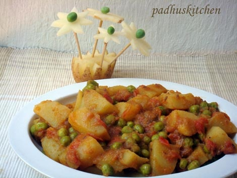 Potato Curry with peas- Aloo Matar Sabji. Gonna make this for my class ...