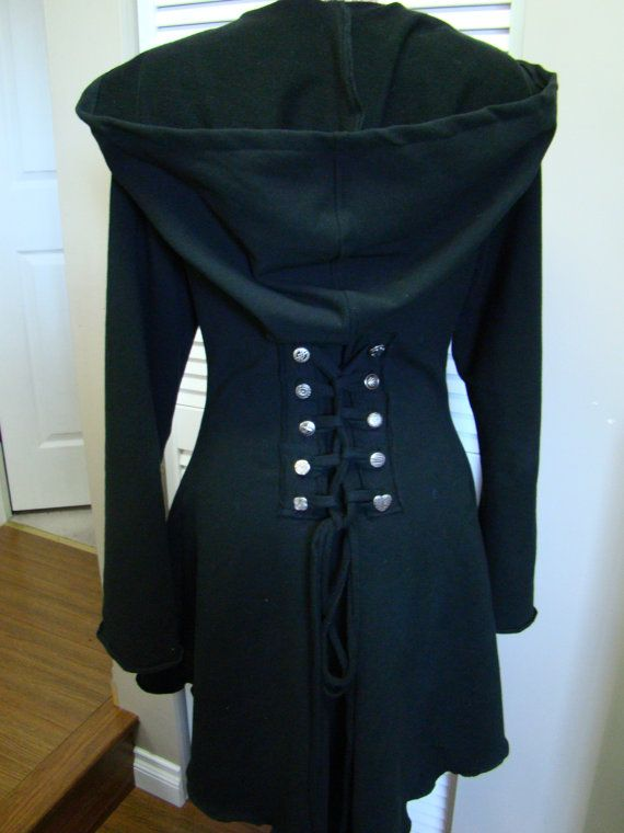 Black corset laced steampunk festival cloak jacket hoody pixie fairy ...