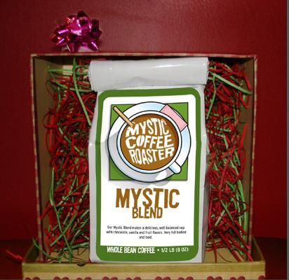 Mystic Blend Coffee, Mystic Coffee Roasters: A four-bean blend with fruity notes, vanilla, and chocolate. They also have 17 types of coffee on site.