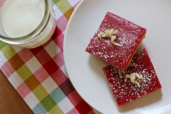 pretty cranberry curd bars with walnut shortbread crust & candied ...