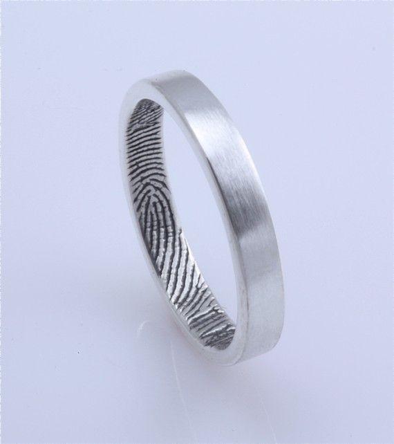 Sterling Custom Fingerprint Wedding Commitment Or Anniversary Band