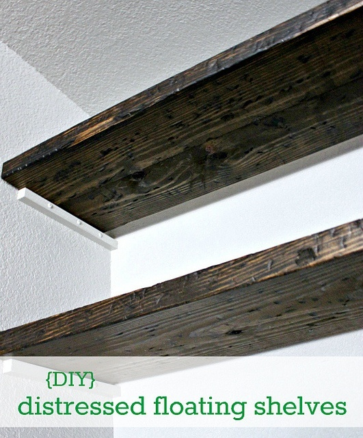 Diy distressed floating shelf