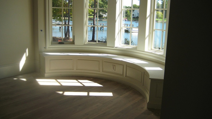 paneled window seat in bow window windows pinterest