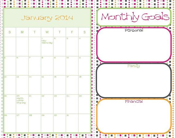 Arc Calendar Printables : Dated calendar monthly goals with holidays for arc