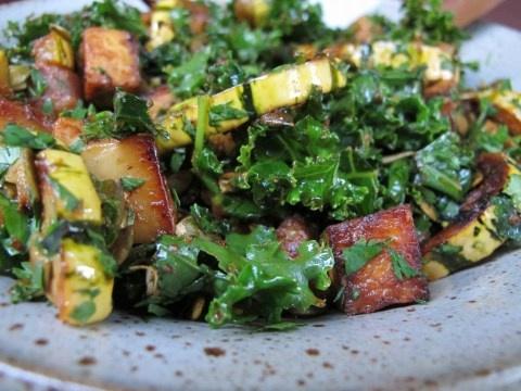 Miso-curry delicata squash w/tofu & kale: This is soooo good. What I ...