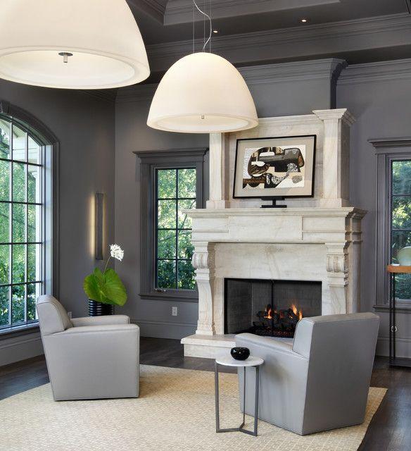 Grey Walls And Dark Trim Home Pinterest