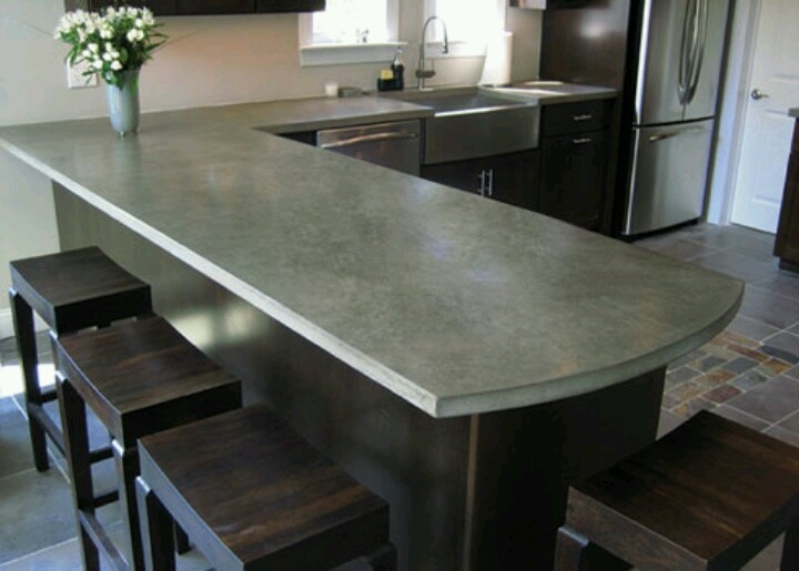 Diy concrete countertops for the home pinterest for Polished concrete kitchen countertops