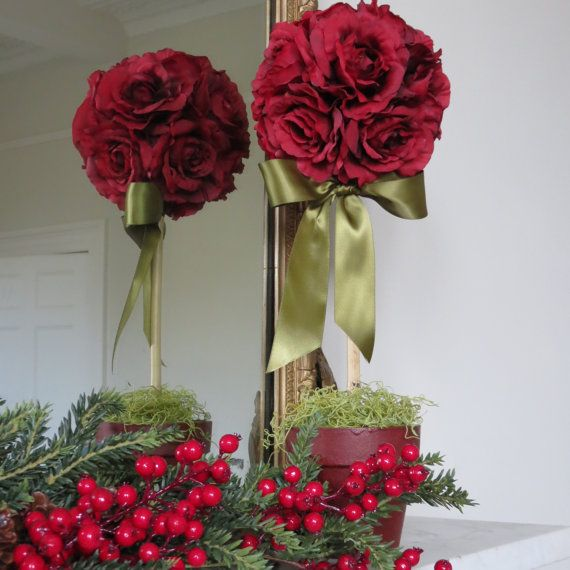 Silk Flower Topiary Tree Decoration Wedding 50th Wedding Anniversary