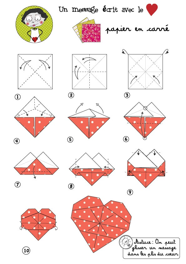 Coeur origami activit s z pinterest - Origami rose facile a faire ...