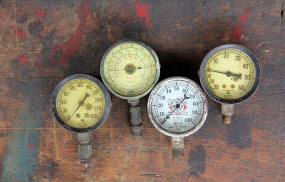 Vintage industrial pressure gauge steampunk parts - Steampunk pressure gauge ...