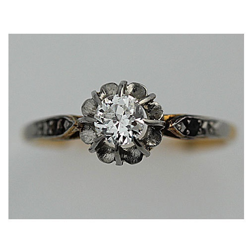 Antique 14 Kt Yellow Gold Old European Cut Diamond Engagement Ring Circa Early 1900's. $2,250.00, via Etsy.