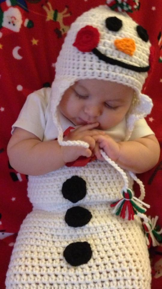 Newborn Crochet Christmas Snowman Photo Prop by BuyBillerman, $26.00