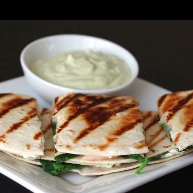 spinach chicken and goat cheese quesadillas with an avocado cream ...