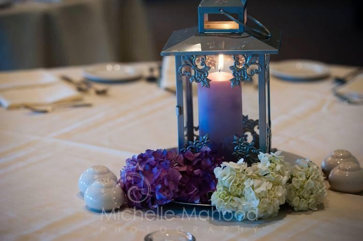 Silver lantern centerpiece with hydrangea accents my