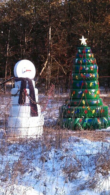Diy árbol de navidad y muñeco de nieve reciclando neumáticos