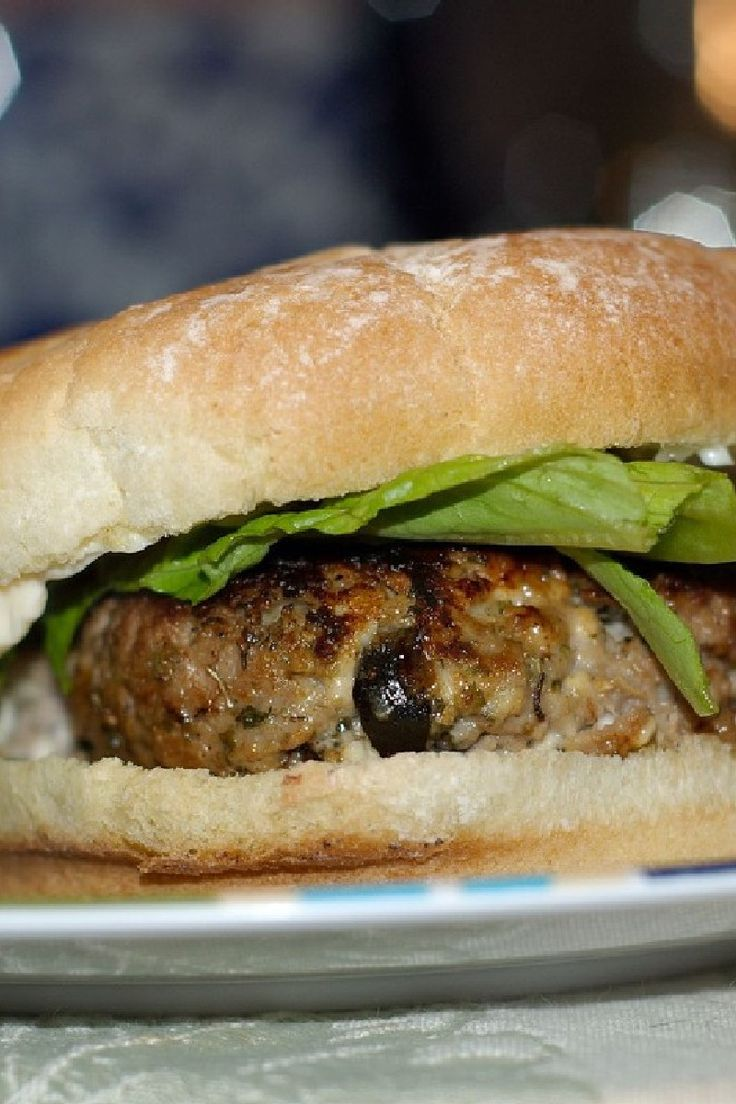 Grilled Greek-Style Turkey #Burgers with Feta Cheese & Olives #Recipe ...