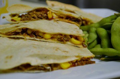 Pulled Pork Quesadillas Recipe from The Splattered Apron