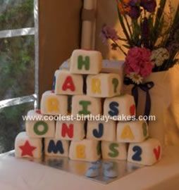 ... cake to make the building blocks cake. I used a LARGE tin (approx