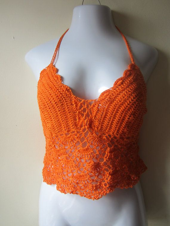 Crochet Halter : Crochet halter top crochet top cropped top lacy by Elegantcrochets, $ ...