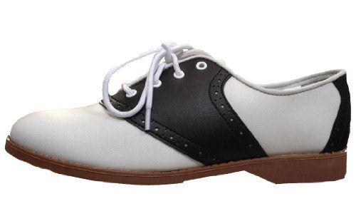 Hip Hop 50s Shop Womens Saddle Oxford Black/White Shoes, 7 M US Hip
