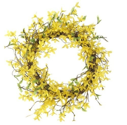 Forsythia wreath yellow - Spring Summer Yellow Forsythia Flower Wreath 18 Inches