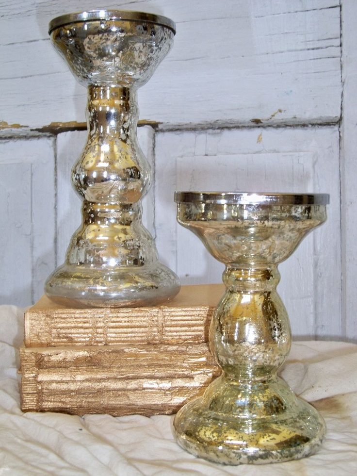 VIntage silver mercury glass candle holders chunky