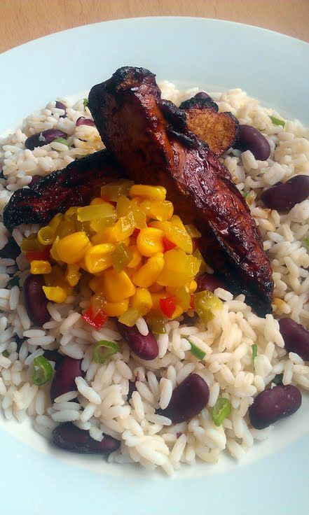 Vickys Jerk Chicken with Jamaican-Style Rice and Beans served with a ...