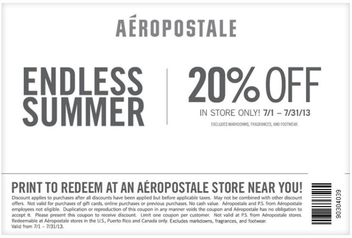 Aeropostale 20 off printable coupon coupons and deals pinterest