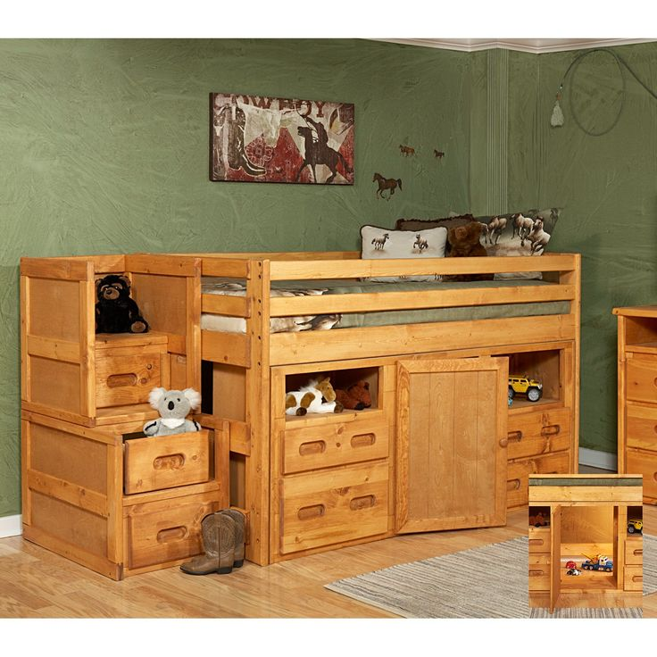 Loft Bed with Storage and Stairway Chest  Cinnamon  Loft Beds at 736 x 736