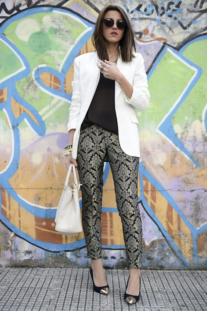Love the look: white blazer, brocade pants, cap toe heels