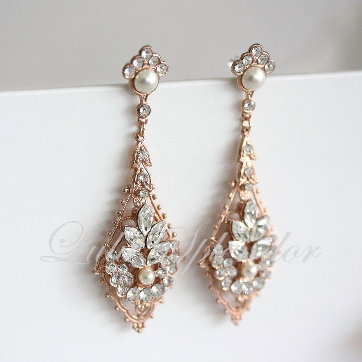 Crystal Chandelier Earrings Rose Gold Earrings Swarovski