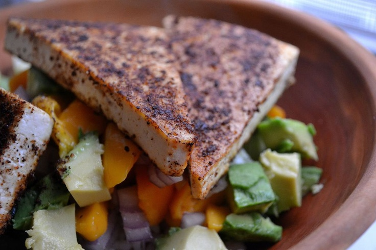chili rubbed tofu with mango avocado salsa
