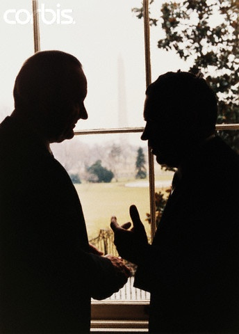 Richard Nixon and Lyndon Johnson